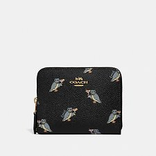 Image of Coach Australia GD/BLACK SMALL ZIP AROUND WALLET WITH PARTY OWL PRINT