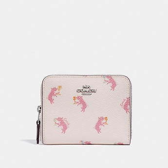 Image of Coach Australia  SMALL ZIP AROUND WALLET WITH PARTY PIG PRINT