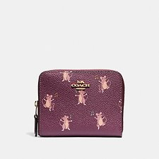Image of Coach Australia GD/DARK BERRY SMALL ZIP AROUND WALLET WITH PARTY MOUSE PRINT