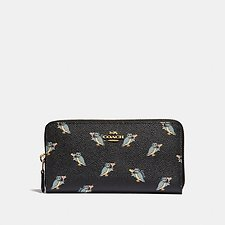 Image of Coach Australia GD/BLACK ACCORDION ZIP WALLET WITH PARTY OWL PRINT