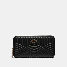 Image of Coach Australia B4/BLACK ACCORDION ZIP WALLET WITH DECO QUILTING