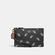 Image of Coach Australia GD/BLACK SMALL WRISTLET WITH PARTY OWL PRINT