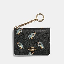 Image of Coach Australia GD/BLACK KEY RING CARD CASE WITH PARTY OWL PRINT