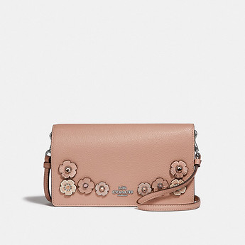 Image of Coach Australia  HAYDEN FOLDOVER CROSSBODY CLUTCH WITH CRYSTAL TEA ROSE