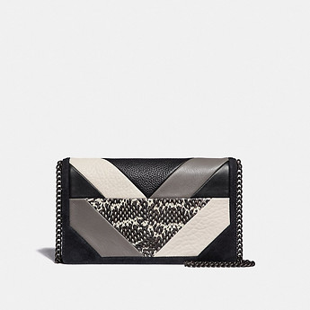 Image of Coach Australia  CALLIE FOLDOVER CHAIN CLUTCH WITH PATCHWORK AND SNAKESKIN DETAIL