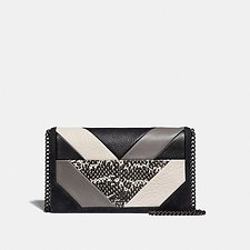 Image of Coach Australia V5/BLACK MULTI CALLIE FOLDOVER CHAIN CLUTCH WITH PATCHWORK AND SNAKESKIN DETAIL