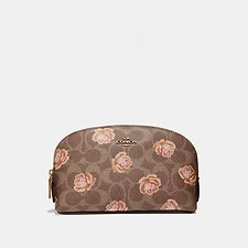 Image of Coach Australia B4/TAN COSMETIC CASE 17 IN SIGNATURE ROSE PRINT