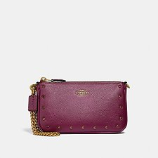 Image of Coach Australia B4/DARK BERRY NOLITA WRISTLET 19 WITH CRYSTAL RIVETS
