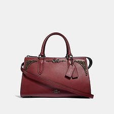 Image of Coach Australia GM/WINE SELENA BOND BAG WITH CRYSTAL EMBELLISHMENT