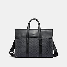Image of Coach Australia QB/CHARCOAL METROPOLITAN PORTFOLIO IN SIGNATURE CANVAS