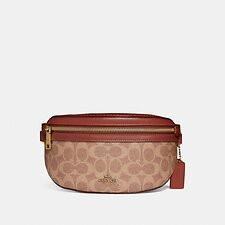 Image of Coach Australia B4/TAN RUST BELT BAG IN SIGNATURE CANVAS