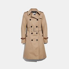 Image of Coach Australia LIGHT KHAKI TRENCH WITH LEATHER BRACELET