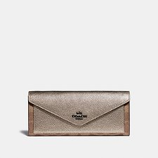 Image of Coach Australia V5/TAN PLATINUM SOFT WALLET IN COLORBLOCK SIGNATURE CANVAS