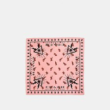 Image of Coach Australia PEACH FLORAL PYRAMID EYE SILK BANDANA