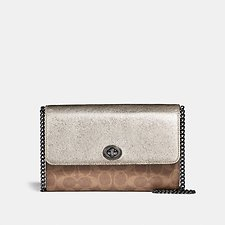 Image of Coach Australia V5/TAN PLATINUM MARLOW TURNLOCK CHAIN CROSSBODY IN COLORBLOCK SIGNATURE CANVAS
