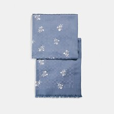 Image of Coach Australia LIGHT DENIM SIGNATURE FLORAL BOW PRINT STOLE