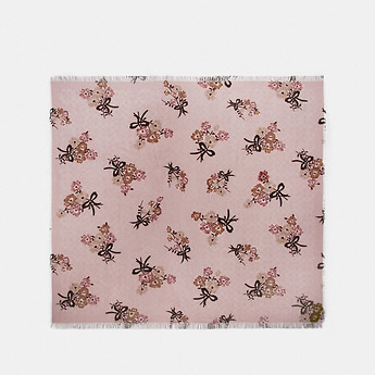 Image of Coach Australia  SIGNATURE PAINTED FLORAL BOW PRINT OVERSIZED SQUARE