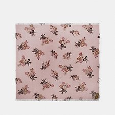 Image of Coach Australia BLOSSOM SIGNATURE PAINTED FLORAL BOW PRINT OVERSIZED SQUARE