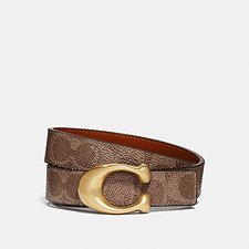 Image of Coach Australia B4/TAN RUST SCULPTED SIGNATURE REVERSIBLE BELT IN SIGNATURE CANVAS
