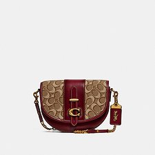 Image of Coach Australia B4/TAN SCARLET SADDLE 20 IN SIGNATURE JACQUARD