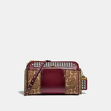 Image of Coach Australia B4/TAN SCARLET JONI CROSSBODY IN SIGNATURE JACQUARD WITH PYRAMID RIVETS