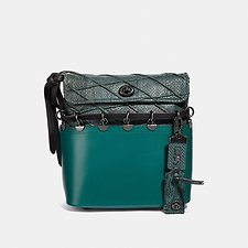 Image of Coach Australia V5/BLACK/VIRIDIAN ROXIE BAG WITH SNAKESKIN QUILTING