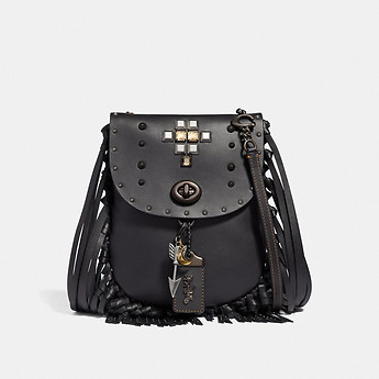 Image of Coach Australia  FRINGE SADDLE BAG WITH PYRAMID RIVETS