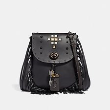 Image of Coach Australia V5/BLACK FRINGE SADDLE BAG WITH PYRAMID RIVETS