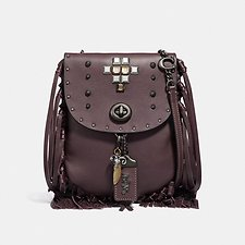 Image of Coach Australia V5/OXBLOOD FRINGE SADDLE BAG WITH PYRAMID RIVETS
