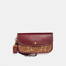 Image of Coach Australia B4/TAN SCARLET CLUTCH IN SIGNATURE JACQUARD