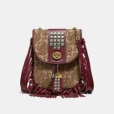 Image of Coach Australia B4/TAN SCARLET FRINGE SADDLE BAG IN SIGNATURE JACQUARD WITH PYRAMID RIVETS