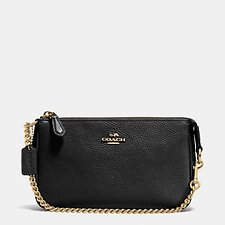 Image of Coach Australia LI/BLACK NOLITA WRISTLET 19 IN PEBBLE LEATHER