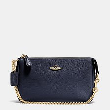 Image of Coach Australia LI/NAVY NOLITA WRISTLET 19 IN PEBBLE LEATHER