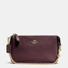 Image of Coach Australia LI/OXBLOOD NOLITA WRISTLET 19 IN PEBBLE LEATHER