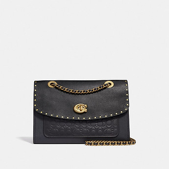 Image of Coach Australia  PARKER SHOULDER BAG IN SIGNATURE LEATHER WITH RIVETS