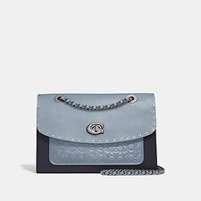 Image of Coach Australia V5/MIST MULTI PARKER SHOULDER BAG IN SIGNATURE LEATHER WITH RIVETS