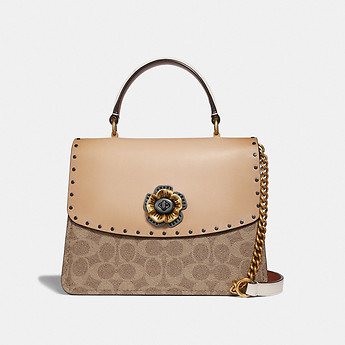 Image of Coach Australia  PARKER TOP HANDLE IN SIGNATURE CANVAS WITH RIVETS