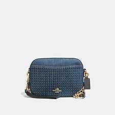 Image of Coach Australia B4/MEDIUM DENIM CAMERA BAG WITH QUILTING AND STUDS