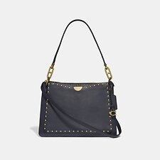 Image of Coach Australia B4/MIDNIGHT NAVY DREAMER SHOULDER BAG WITH RIVETS