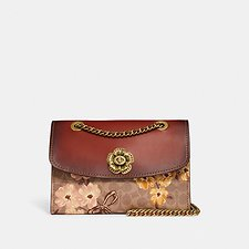 Image of Coach Australia B4/TAN RUST BOW PARKER IN SIGNATURE CANVAS WITH PRAIRIE FLORAL PRINT