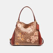 Image of Coach Australia B4/TAN RUST BOW EDIE SHOULDER BAG 31 IN SIGNATURE CANVAS WITH PRAIRIE FLORAL PRINT