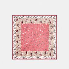 Image of Coach Australia CORAL/PINK FLORAL BOW PRINT SILK SQUARE SCARF