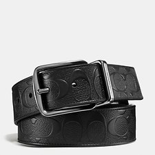Image of Coach Australia BLACK/BLACK WIDE HARNESS CUT-TO-SIZE REVERSIBLE SIGNATURE CROSSGRAIN BELT