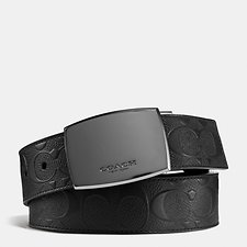 Image of Coach Australia BLACK/BLACK CLASSIC PLAQUE CUT-TO-SIZE REVERSIBLE SIGNATURE CROSSGRAIN BELT