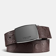 Image of Coach Australia MAHOGANY/MAHOGANY CLASSIC PLAQUE CUT-TO-SIZE REVERSIBLE SIGNATURE CROSSGRAIN BELT