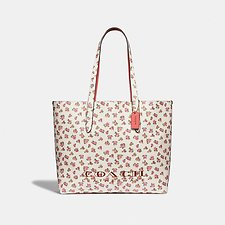Image of Coach Australia GD/CHALK HIGHLINE TOTE WITH FLORAL PRINT