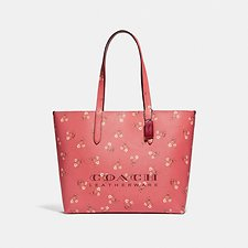 Image of Coach Australia SV/BRIGHT CORAL HIGHLINE TOTE WITH FLORAL PRINT