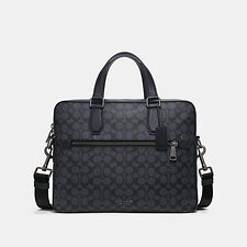 Image of Coach Australia QB/MIDNIGHT NAVY KENNEDY BRIEF IN SIGNATURE CANVAS