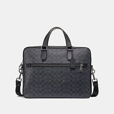 Image of Coach Australia QB/CHARCOAL KENNEDY BRIEF 40 IN SIGNATURE CANVAS