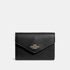 Image of Coach Australia LIBLK ENVELOPE CARD CASE IN PEBBLE LEATHER
